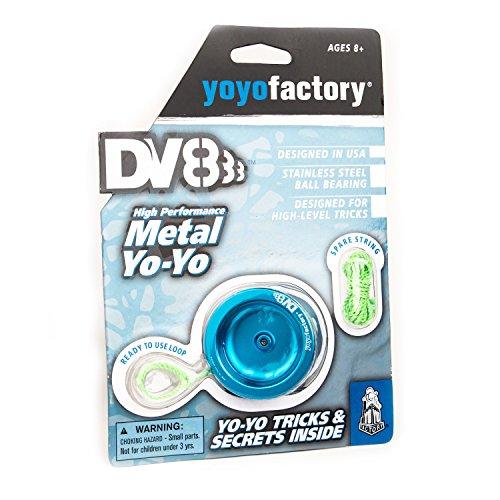 YoyoFactory DV888 Profi Metall Yo-Yo Mit Kugellager & Schnur - BLAU (Ideal für Anfänger, Moderne Leistung Yoyo, Schnelle Rotation Metall Kugellager, Schnur und Anleitung Enthalten) (Yoyo Minute)