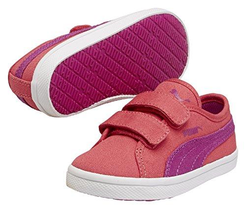 Puma Elsu F Canvas V Unisex-Kinder Sneakers Rot (geranium-vivid viola 04)