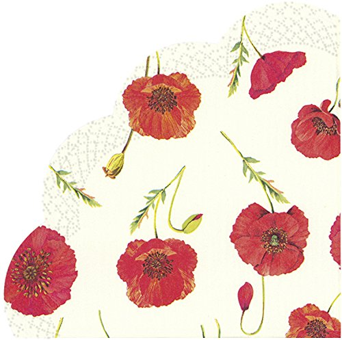 Ihr Rondo Papier-Servietten, rund, bogenförmig Servietten-Polly creme-rot Mohn-12in Pack Rondo Creme