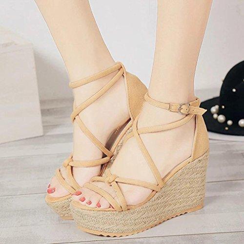 Omiky® Frauen Sandalen Weibliche Keil Plattform Schuhe Elegante High Heel Sandalen Beige