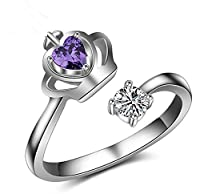 Cdet Women Ring Size Adjustable Fashion Crown Purple Heart Crystal White Diamond Lady Ring Jewelry Accessories Birthday Gift
