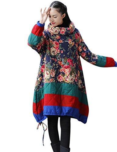 Youlee Femmes d'hiver Haut Col Drawstring Ourlet Manteau Bleu