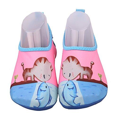 I Bambini nuotano Scarpe da Acqua Quick Dry Antiscivolo per Ragazzi e Ragazze Funny Cat Toddler US 10M per Anni più Vecchi