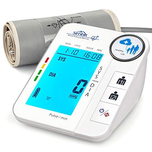 SIMBR Digitales Oberarm Blutdruckmessgerät mit Arrhythmie-Erkennung, mit Speicherfunktion (2 × 128) und LED-Großbildschirm