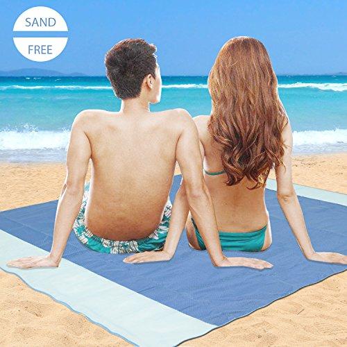 Telo mare antisabbia (200 x 200 cm) minetom coperta da spiaggia sand free telo spiaggia impermeabile tappetino mare 3 strati beach mat e tappetini da picnic per la spiaggia