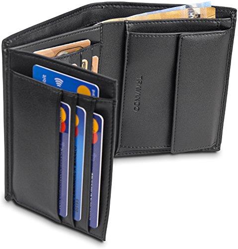 """Estás buscando una cartera de alta calidad y bloqueador RFID? Con la billetera """"DUBLIN"""" puedes almacenar hasta 15 tarjetas y billetes en una cartera pagable. La cartera de TRAVANDO tiene:  Bloqueador RFID para todas las tarjetas Almacenamiento para..."""
