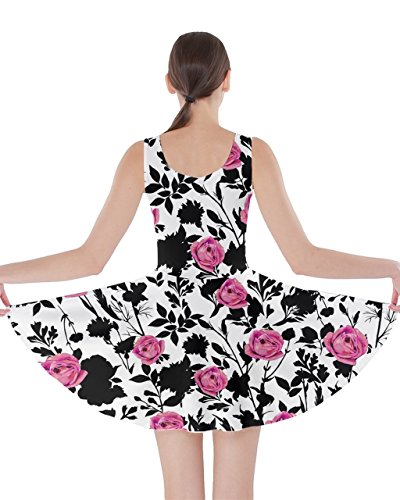 CowCow Womens Pink Rose Roses Floral Pattern Double Sided Skater Dress – 2XL