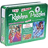 Krishna Puzzles| Killing of Putana & Trinavarta | Jigsaw 2-in-1 Plastic| Waterproof Puzzles (Green)
