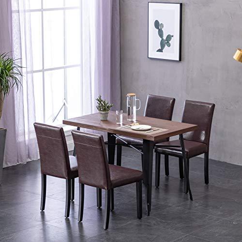 Deuline 4X Esszimmerstühle Esszimmerstuhl Polsterst Stuhl Stühle Lehnstuhl Paris Braun 521204 (Braun Hohe Rückenlehne Esszimmer Stuhl)