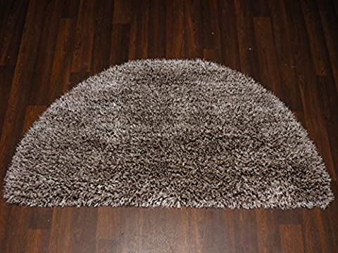 Luxury Shaggy 100% Polyester Hand Tufted Shaggy Rug 60cm x 120cm Half Moon In Beige/Brown Mottled Soft to