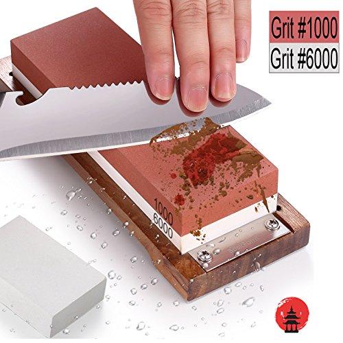 basicform Wetzstein Messer schärfen Stein Kit–1000 6000Körnung Schleifstein mit rutschfesten Sockel aus Holz, mit Glätten Stein für Reparatur
