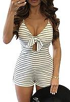 X-Future Womens Backless Deep V-Neck Bowknot Stripes Shorts Jumpsuit Romper 1 XS