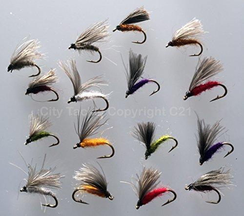 Bestcity tackle cdc emergers f fly pack#317 - set di 16 mosche artificiali con ami per pesca alla trota, dimensioni: 12-14, prodotto di qualità, regno unito