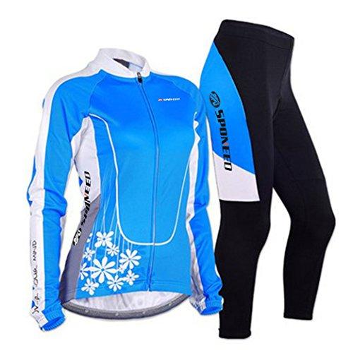 sponeed Damen Radhose Full Sleeve Road Bike Kleidung Strumpfhose 4D gepolstert, Damen, Long Blue, Asia L=US Medium (Road-bikes Zum Verkauf)