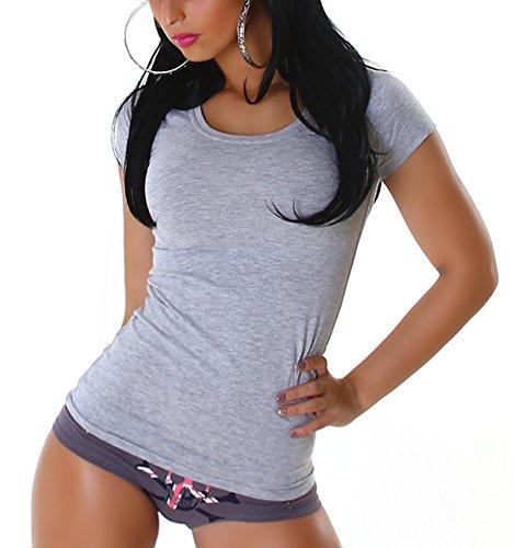 Jela London Damen Basic T-Shirt Slim-Fit Rundhals/V-Ausschnitt Longshirt Kurzarm Einfarbig Grey (Rundhals)