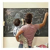 بكرة ورق لاصق، كبير جدًا، قابلة للإزالة، مزودة بخمسة طباشير ألوان، ملصق لوح أسود ذاتي اللصق للاستخدام في المنزل أو المكتب أو المدرسة أو ملصقات جدارية ورقية