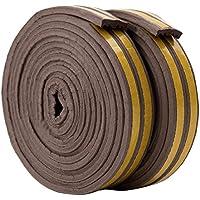 Bande de Joint E-Profil, Auto-Adhésif, Anticollision, Imperméable, Joint de porte en mousse Bande de joint d'étanchéité en caoutchouc pour Fenêtre/Porte-9mm x 4mm x 2.5m,4 joints Total 10M (Marron)