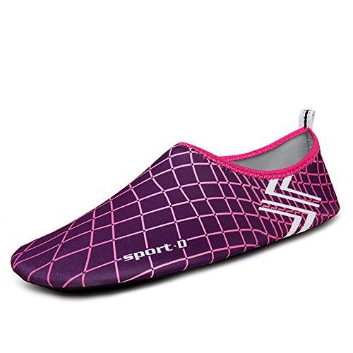 SAGUARO® Pelle Scarpe piedi nudi acquatico Aqua calzini per Beach Swim Surf Yoga Rosa rossa 3