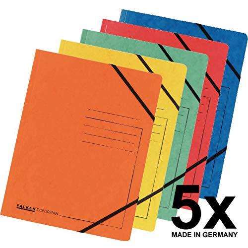 Falken Premium Eckspanner-Mappe aus extra starkem Colorspan-Karton DIN A4 mit 2 Gummizügen farbig sortiert 5er Pack Sammelmappe Dokumentenmappe ideal fürs Büro und die mobile Organisation