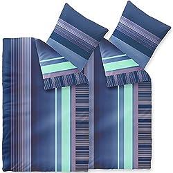 CelinaTex 4-TLG. Bettwäsche 2X 135x200 Mikrofaser, Harmony 6000169 Alina Streifen blau
