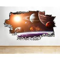 B011 Moon Space Earth Planets Boys Bedroom Wall Decal Poster 3D Art Stickers Kids Bedroom Baby Nursery Cool Livingroom Hall Boys Girls (Medium (52x30cm))