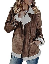 Felicove Damen Wintermantel Parka Frauen Faux Wildleder Warme Jacke  Reißverschluss Oben Mantel Outwear mit Taschen Langarm 6c423124bf