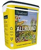 GroGreen Organique Bio Engrais Universel 4-3-2 +1% Mg + 9% Ca, seau de 7,5 kg. Engrais 100% organique. Engrais organique et naturel pour le jardin, le potager et la pelouse.