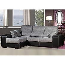 Sofa chaiselongue ,medida 275 Tapizado similpiel y tela (Gris y Negro)