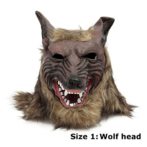 LaDicha 1/2Pcs Latex Rubber Wolf Head Hair Mask Werewolf Gloves Party Scary Halloween Cosplay - #01