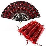 SurePromise One Stop Solution for Sourcing Lote 10 uds. Abanicos de Tela Bordado + 10 pcs Bolsita de Organza para Invitado Boda Fiesta (Negro con Rojo)