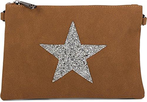 styleBREAKER Clutch Abendtasche mit Pailletten Stern in Wildleder Optik, Schulterriemen und Trageschlaufe, Damen 02012092, Farbe:Rose Camel