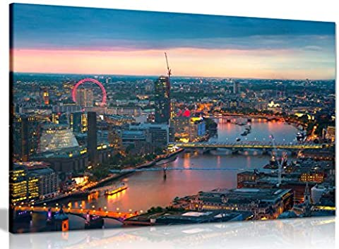 London Sunset, Panoramic View Canvas Wall Art Picture Print (36x24in)