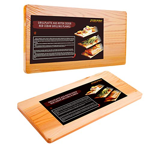 51qXbcks5xL - IZIMU Grillbretter,Zedernholzbrett zum Grillen,Räucherbretter aus Zedernholz hergestellt aus 100% natürlichem Red Zedernholz,Grillbretter BBQ (2er Set)
