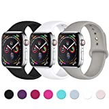 Lerobo Sport Correa para Apple Watch Correa 38mm 42mm 40mm 44mm, Pulsera de Repuesto de Silicona Suave Correa para Apple Watch Series 4/3/2/1, 38mm/40mm S/M Negro/Blanco/Gris