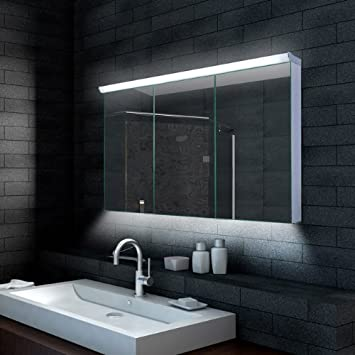 Spiegelschrank mit beleuchtung  Lux-aqua Design Badezimmer Spiegelschrank mit LED Beleuchtung 120 ...