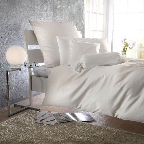 Bettwaren-Shop Uni Mako-Satin Bettwäsche elfenbein Kissenbezug einzeln 50x70 cm (Elfenbein Satin-bettwäsche)