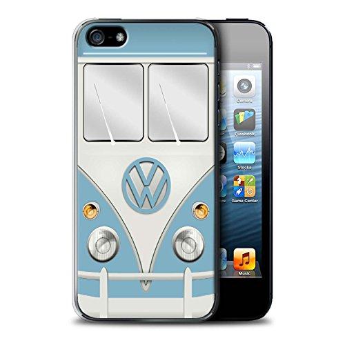 Stuff4 Hülle / Case für Apple iPhone 5/5S / Fjord Blau Muster / Retro T1 Wohnmobil Bus Kollektion Fjord Blau