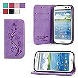 COOVY® Cover für Samsung Galaxy S3 GT-i9300 GT-i9305 Neo GT-i9301 Case Wallet Schutz Etui mit Kartenfach, Standfunktion + Schutzfolie - Design Blume | Farbe lila