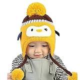 Babybekleidung Hüte & Mützen Winter-Baby Kinder WCute Baby Kleinkind Mädchen Jungen Pinguin Pelzkugel gestrickt Winter warme Mütze Cap(40-52CM) (yellow)