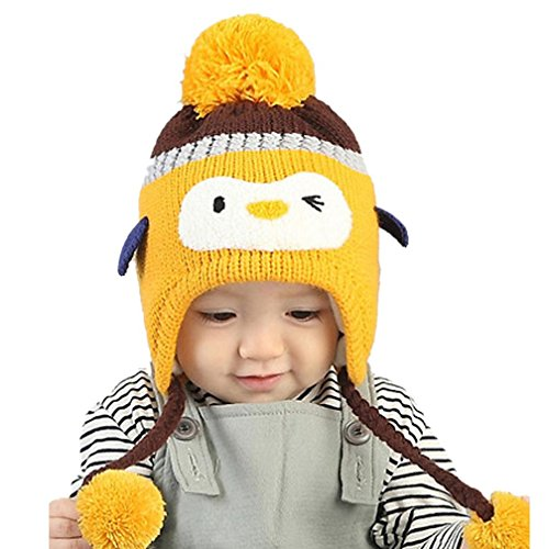 Babybekleidung Hüte & Mützen Winter-Baby Kinder WCute Baby Kleinkind Mädchen Jungen Pinguin Pelzkugel gestrickt Winter warme Mütze Cap(40-52CM) (Junge Kleinkind Hüte)