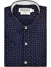 Arihant Men's Printed Half Sleeves Reguler Fit 100% Cotton Formal Shirts
