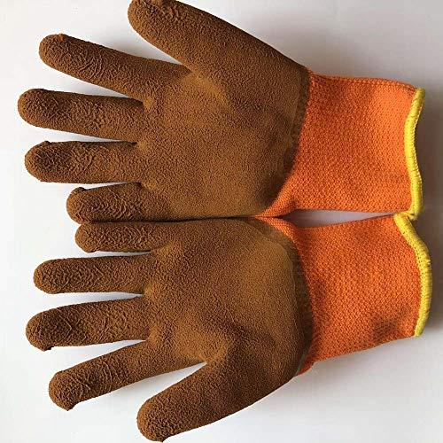 Anti-Cutting-Schutzhandschuhe, Nitril Beschichtet Palm Kratzfest, Industrial Safety Handschuhe, Verschleißschutzhandschuhe, Feuer Handschuhe Half Skin Gardening Wear Arbeitsschutz Schweißen,Brown