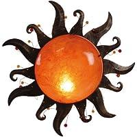 Naeve Leuchten 176898 - Plafón de techo o pared (diámetro 39 cm, metal y cristal), color naranja