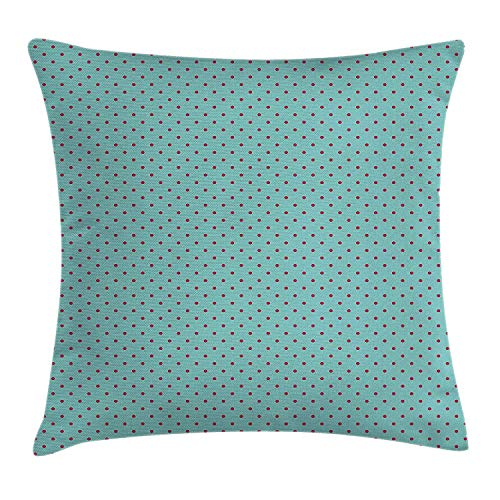 MLNHY Pop Art Throw Pillow Cushion Cover, Pin up Theme 60s 50s Inspired Polka Dots Retro Vintage Artwork Print, Decorative Square Accent Pillow Case, 18 X 18 inches, Hot Pink and Baby Blue
