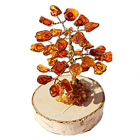 Cute Honey Baltic Amber Tree (32 amber leaves), handmade and boxed. Perfect and Unique gift!