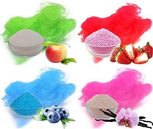 Aromazucker für bunte Zuckerwatte 4x250g mit Geschmack | Apfel - Grün, Erdbeer - Rot, Heidelbeere - Blau, Vanille - Pink | Farbaromazucker und Dekorzucker für Zuckerwattemachinen