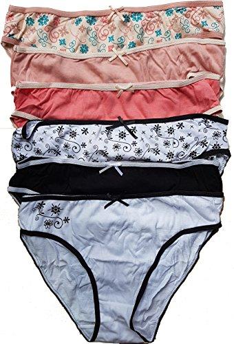 Simply Me.Lady's perfect. symply me.freegun.Underwear Damen Dessous Ultra Komfort: Unterhosen, Boxershorty, Mantel - Verschiedene Modelle für Fotos je nach Verfügbarkeit Gr. 36-38, 1 Set mit 6 Slips - 2