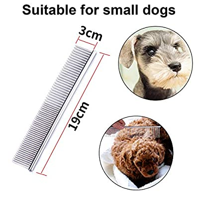 3 Pack Pet Comb, Chrome Electroplating Steel Combs in 3 Sizes (19 x 3 cm, 19 x 4 cm, 19 x 5 cm) for Dogs, Cats, and Other Pets with Different Lengths of Hair (Pack of 3) from Yizerel