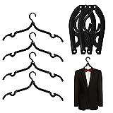 MINGZE 6 stücke Schwarz Kunststoff Faltbare Reise Kleiderbügel 40 cm, Familie Camping Hohe Qualität Mini rutschfeste Wäscheständer Kleiderbügel Haken