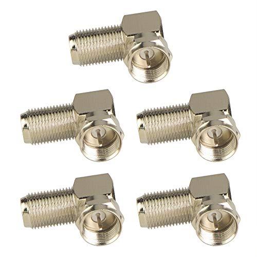 VCE 5 Stück F Stecker Winkeladapter 90 Grad Sat Adapter für Antennenkabel, Satellitenkabel, Koaxialkabel -